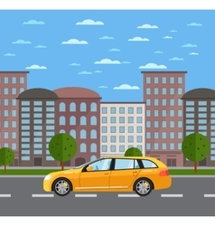 Yellow universal citycar on road in city vector image vector image