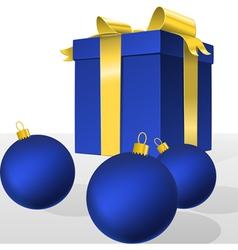 blue christmas gift box and balls vector image