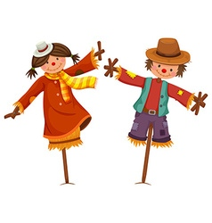 Two scarecrows look like human boy and girl vector