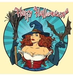 Happy halloween beautiful witch and bat vector
