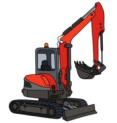 Red small excavator vector image