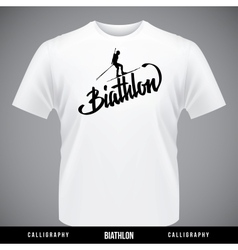 Biathlon hand lettering - handmade calligraphy vector image