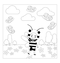 Kid in bee dress coloring page vector image