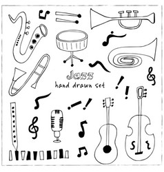 jazz musical instruments set vector image