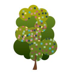 Colorful silhouette leafy tree with pixels square vector