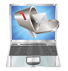 Letter mailbox flying out of laptop screen concept vector