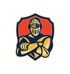 Knight with arms crossed with shield vector