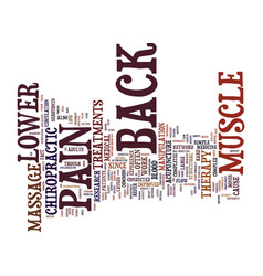 Z lower back muscle pain text background word vector