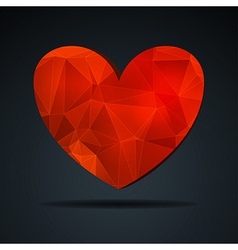 Red crystal heart vector