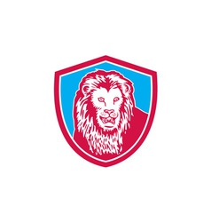 Lion big cat head shield retro vector