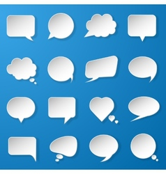Modern paper speech bubbles set on blue background vector image