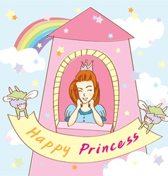 Happy princess tower vector