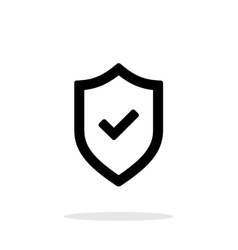 Shield with check mark icon on white background vector