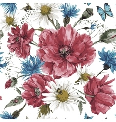 Vintage watercolor bouquet of wildflowers shabby vector