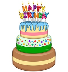 Three floors happy birthday cake with candles vector