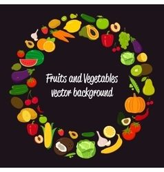 Vegetable circle background fruits and vector