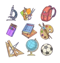 Back to school supplies and learning equipment vector