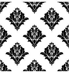 Black and white damask seamless pattern vector image