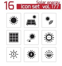 Black solar energy icons set vector