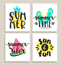 Bright summer cards on white background vector