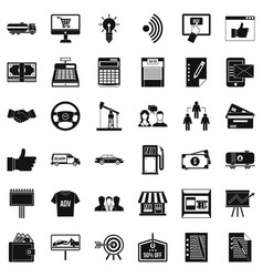 Business data icons set simple style vector