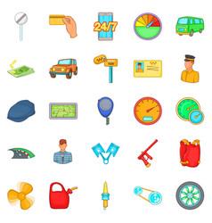 Car icons set cartoon style vector