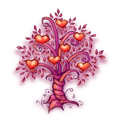 cartoon love tree with vector image