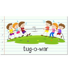Children playing tug-o-war vector