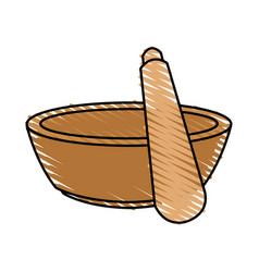 Color crayon stripe cartoon salt bowl with wooden vector