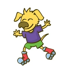 Dog playing roller skates cartoon vector