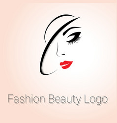 Fashion Beauty Logo Woman with Hat vector image vector image
