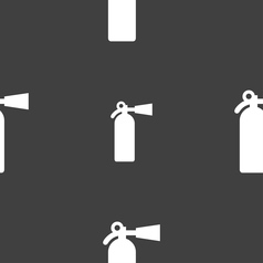 Fire extinguisher icon sign seamless pattern on a vector