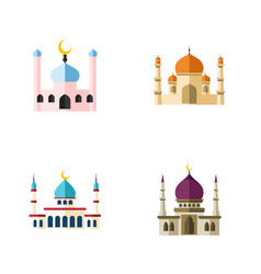 Flat icon mosque set of islam religion muslim vector