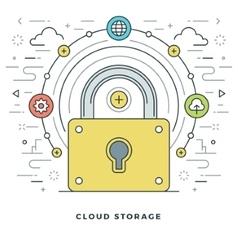 Flat line cloud storage concept vector