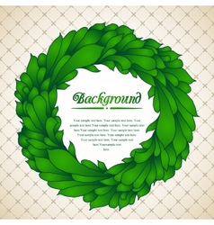Floral wreath of green leaves vector