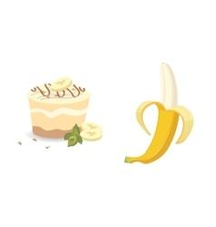 Fresh banana fruits and cake vector image