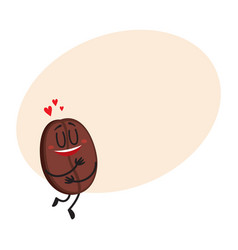 Funny coffee bean character with human face vector