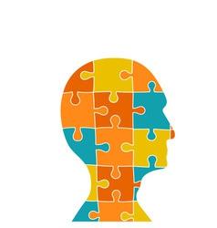 Head contains of puzzle pieces vector