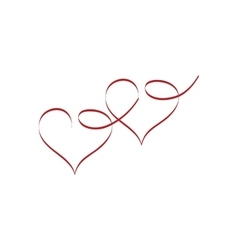 Heart two ribbon love vector image