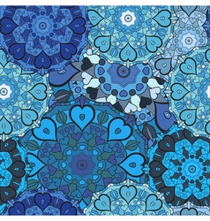 Lace blue seamless pattern on oriental style vector image vector image