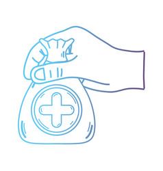 line hand with bag dotation with heart and cross vector image vector image