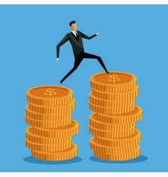 Man business on coin money pile vector