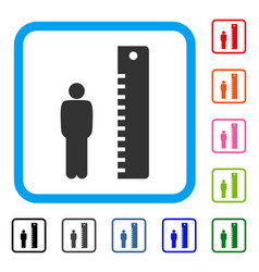 Man height framed icon vector