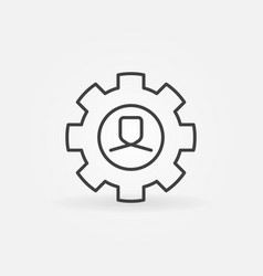 Man in gear line icon vector
