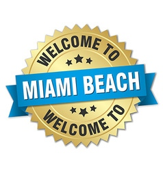 Miami beach 3d gold badge with blue ribbon vector