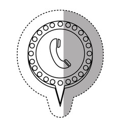 Monochrome sticker with telephone and circular vector