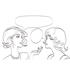 Nice drawn two talking women lineart pop vector