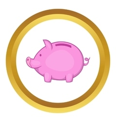 Pink piggy bank icon vector
