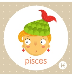Pisces zodiac sign girl with fish tail vector image vector image