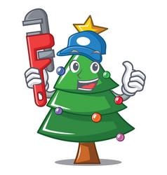 Plumber christmas tree character cartoon vector